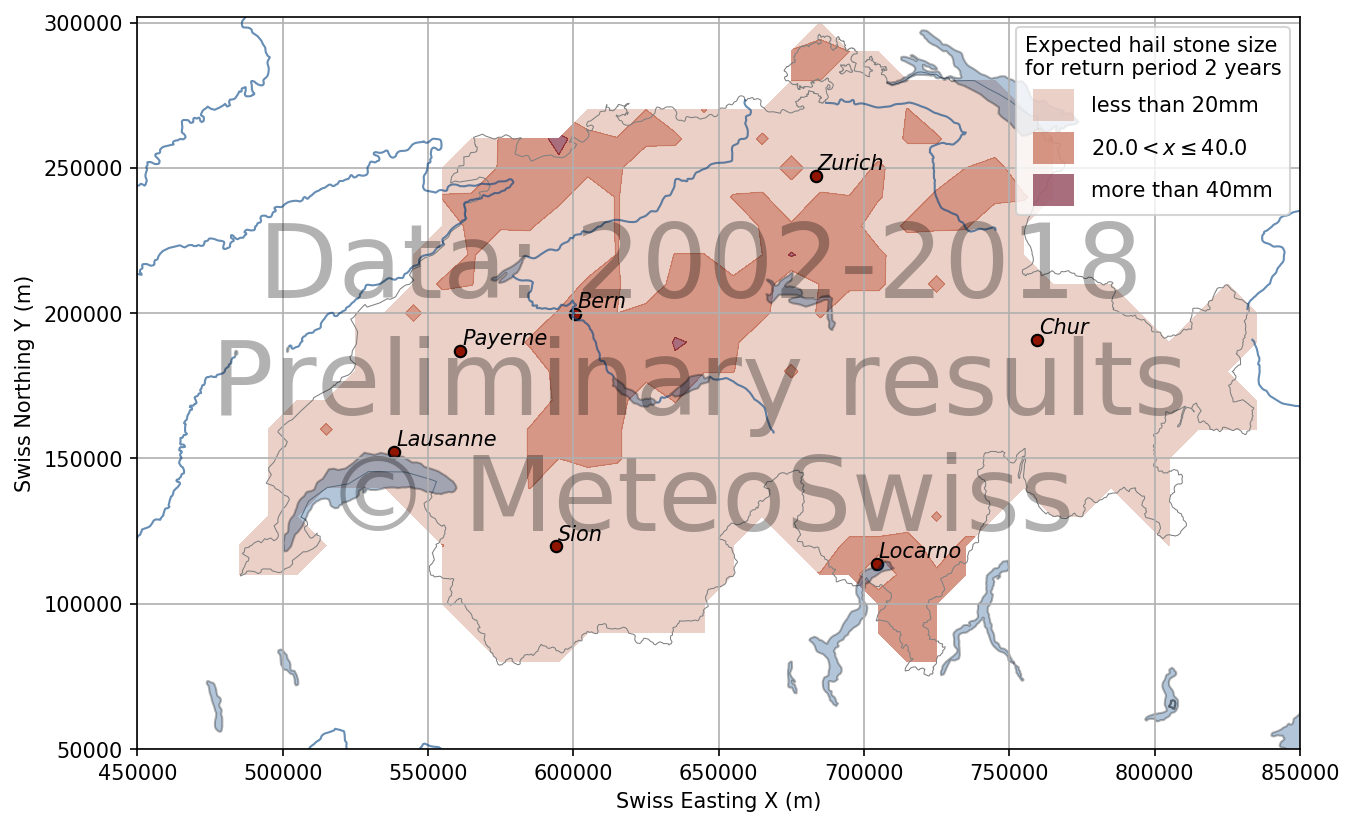 According to a preliminary MeteoSwiss evaluation, the hailstone sizes to be expected for a 2-year event are less than 20 mm in most regions. They lie between 20 and 40 mm along the foothills of the Pre-Alps.