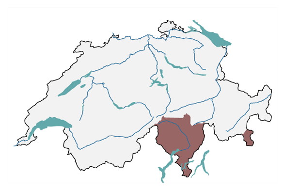 A map of Switzerland is shown with the outline of the major, cross-cantonal region on the south side of the Alps. It includes the canton of Ticino, parts of the canton of Graubünden south of the Splügen Pass, and the Val Poschiavo.