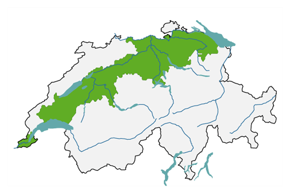 A map of Switzerland is shown with the outline of the major region of Central Switzerland. It includes parts of the cantons of Geneva, Vaud, Freiburg, Bern, Solothurn, Lucerne, Zug, Zurich, Thurgau and St Gallen.