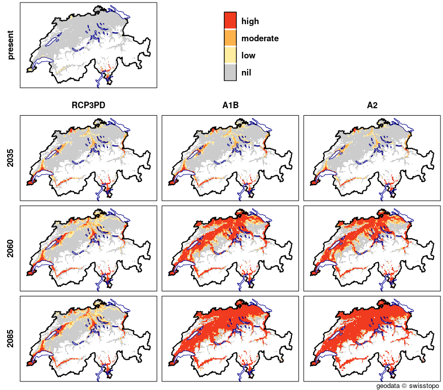 The graphics show maps of Switzerland that illustrate the probability of the occurrence of a third codling-moth grub generation. A total of ten maps are presented for different combinations of timescales (the present, 2035, 2060 and 2085) and emission scenarios (RCP3PD, A1B and A2). The current fruit-growing area is coloured grey. The likelihood of the occurrence of a third generation of grubs is shown by means of a three-level colour scale, ranging from light-yellow (low probability) to orange (moderate probability) to red (high probability). The map for the current climate shows a high probability of occurrence in the lower-lying valleys of Ticino, and a low probability in the canton of Geneva and along the Rhone. All three scenarios show a similar picture for 2035. In Ticino and in the canton of Geneva, along Lake Geneva, in the Rhone valley and in Basel, the probability of occurrence is high; but the Three Lakes Region, the Rhine Valley and Freiamt will also potentially be affected by a third generation of codling moth.  Assuming the RCP3PD emission scenario, the areas with a high likelihood of occurrence for the 2060 and 2085 timescales increase slightly in size. If emission scenarios A1B and A2 are assumed, however, the extent of the areas with a high probability of occurrence is considerably larger. Around 2060, the areas include large parts of the Swiss Central Plateau and Rhone and Rhine Valleys as well as the canton of Jura, and by 2085 they completely encompass the current fruit-growing area.