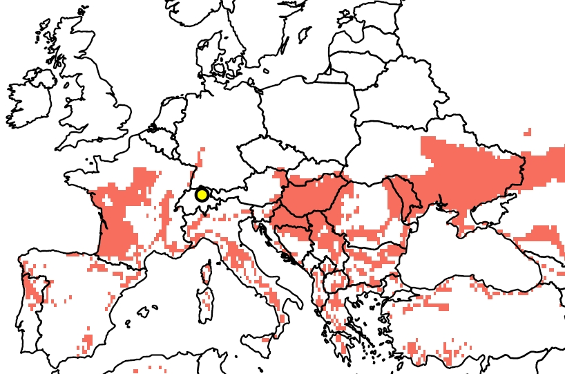 The graphic shows a map of Europe, with a yellow dot in the centre marking the geographic location of Wädenswil. Red patches extend over the area south of the fiftieth parallel. These indicate where, during the months of April to September, it is currently as warm as it is expected to be in Wädenswil around 2060. The areas include southwest and central France, the Mediterranean basin, the Balkans, South-Eastern Europe and the Ukraine.