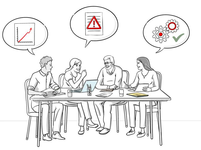 Illustration of two women and two men sitting at a desk. Three speech bubbles indicate that they are talking about climate services.